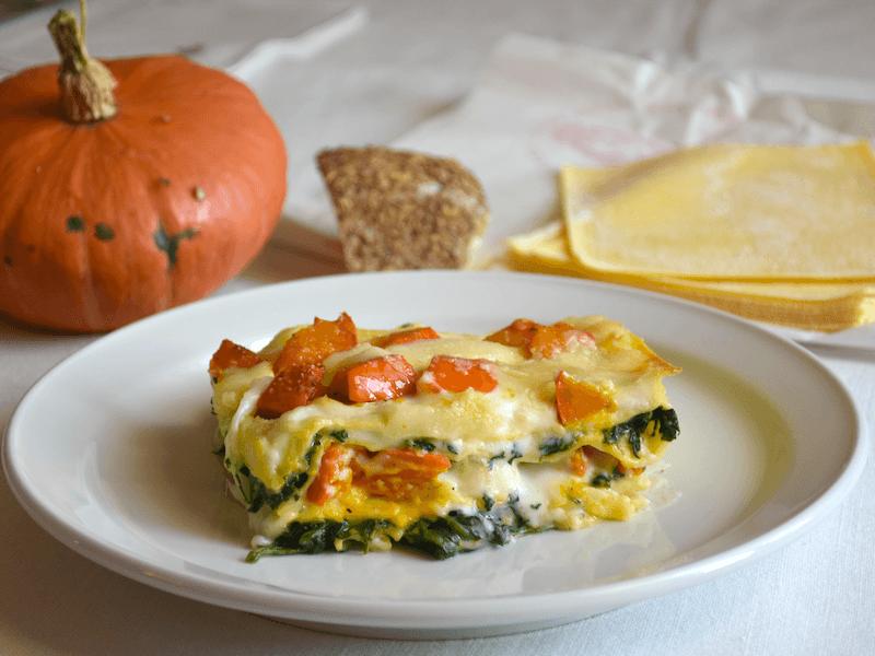 Lasagne con zucca, spinaci e formaggio sbirro
