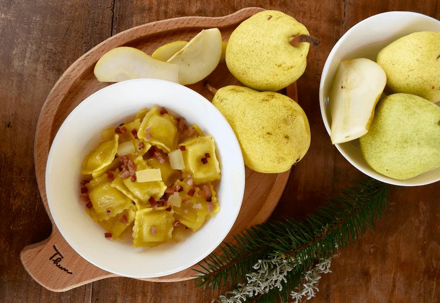 Agnolotti pere e gorgonzola