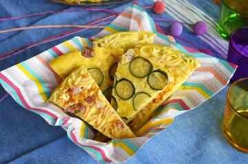 Frittata di tagliolini con zucchine e pancetta